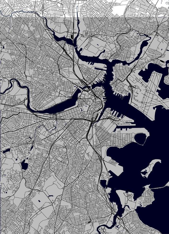 Mappa della città di Boston, U.S.A. fotografia stock