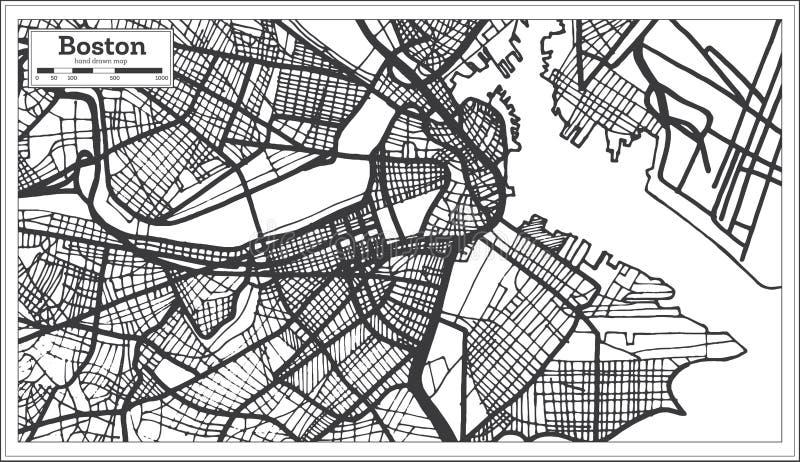 Mappa della città di Boston U.S.A. nel retro stile Illustrazione in bianco e nero di vettore illustrazione di stock