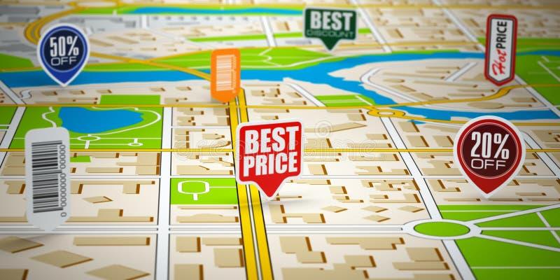 Mappa della città di GPS con le etichette di prezzi Concetto della vendita e dell'acquisto illustrazione vettoriale