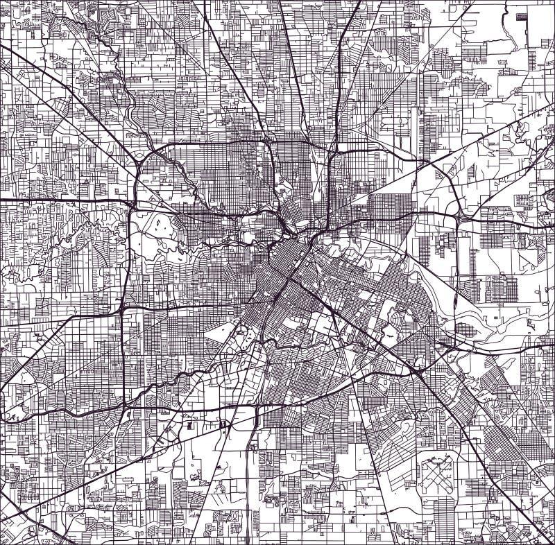 Mappa della città di Houston, U S Condizione del Texas, S illustrazione vettoriale