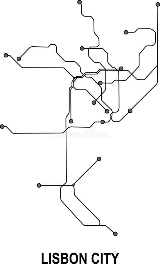 Mappa della città di Lisbona royalty illustrazione gratis