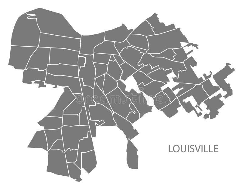 Mappa della città di Louisville Kentucky con il illustratio di grey delle vicinanze royalty illustrazione gratis