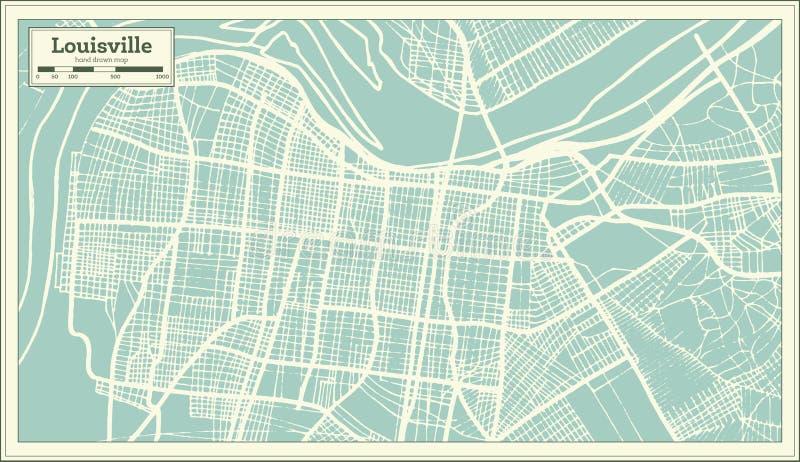 Mappa della città di Louisville Kentucky U.S.A. nel retro stile Illustrazione in bianco e nero di vettore royalty illustrazione gratis