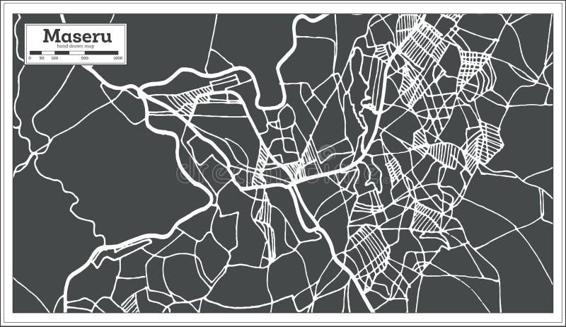 Mappa della città di Maseru Lesotho nel retro stile Illustrazione in bianco e nero di vettore royalty illustrazione gratis