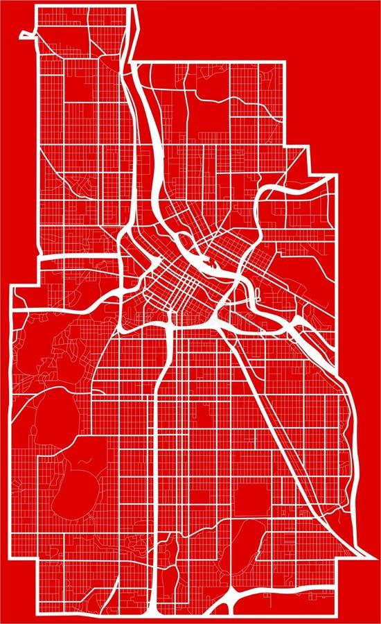 Mappa della città di Minneapolis nello stile di progettazione piana illustrazione vettoriale