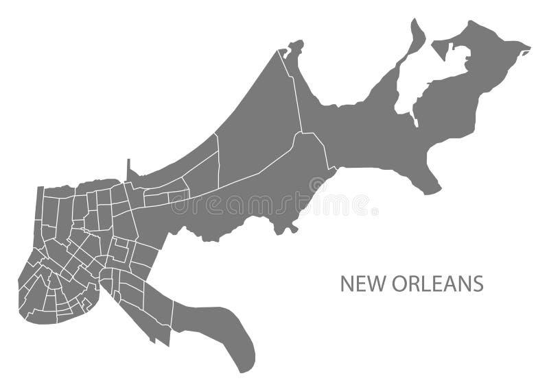 Mappa della città di New Orleans Luisiana con il illustrat di grey delle vicinanze royalty illustrazione gratis