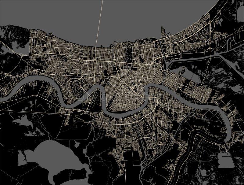 Mappa della città di New Orleans, Luisiana, U.S.A. illustrazione vettoriale