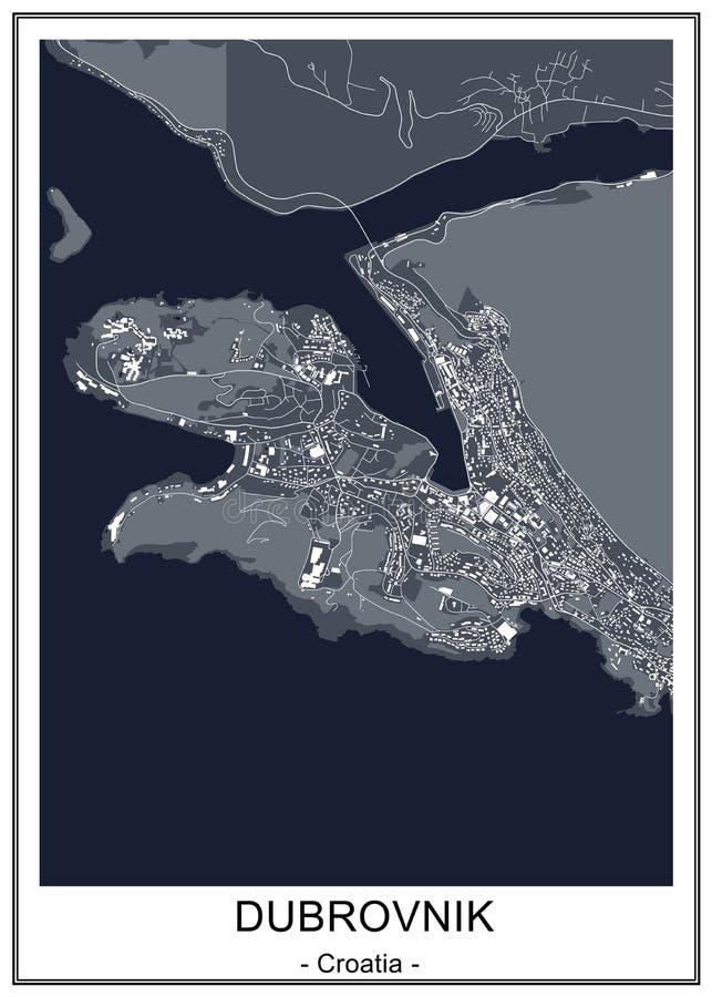 Mappa della città di Ragusa, Croazia illustrazione vettoriale