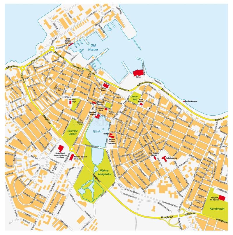 Mappa della citt di reykjavik illustrazione di stock for Casette di legno in islanda reykjavik