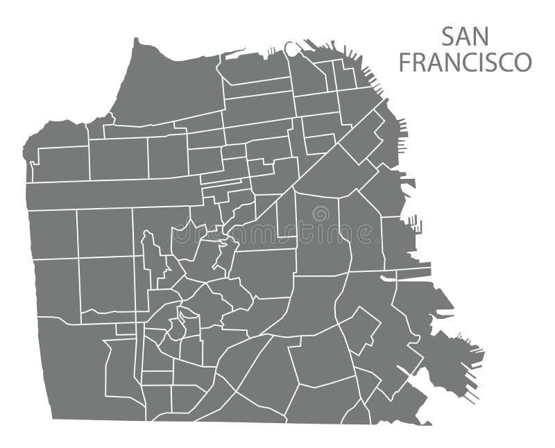 Mappa della città di San Francisco con il sil grigio dell'illustrazione delle vicinanze illustrazione di stock