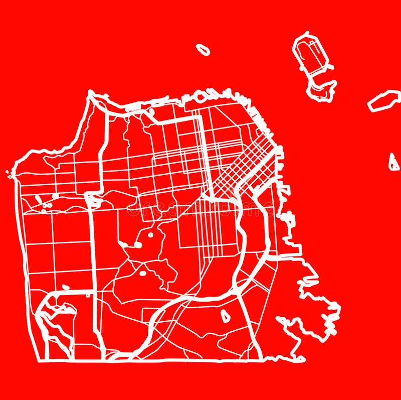 Mappa della città di San Francisco nello stile di progettazione piana illustrazione di stock