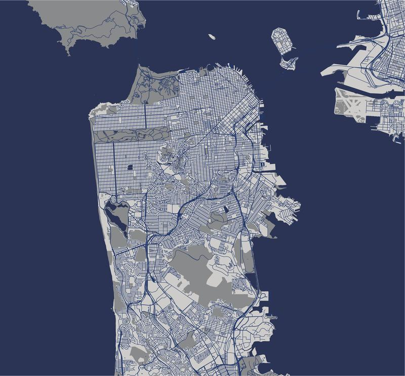 Mappa della città di San Francisco, U.S.A. royalty illustrazione gratis