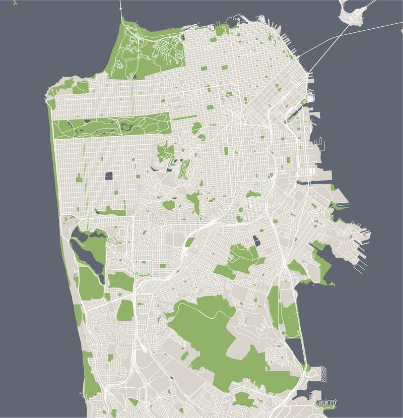 Mappa della città di San Francisco, U.S.A. illustrazione vettoriale