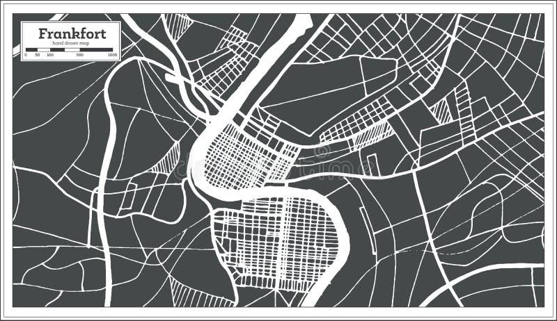 Mappa della città di U.S.A. di frankfurter nel retro stile Illustrazione in bianco e nero di vettore royalty illustrazione gratis
