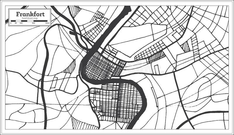 Mappa della città di U.S.A. di frankfurter nel retro stile Illustrazione in bianco e nero di vettore illustrazione di stock