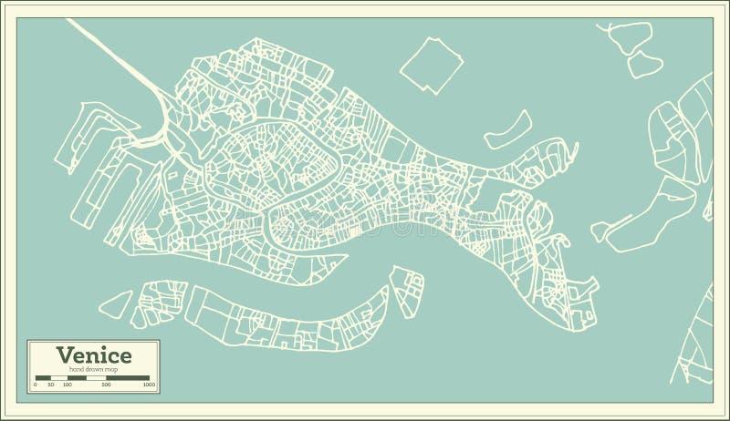 Mappa della città di Venezia Italia nel retro stile illustrazione vettoriale
