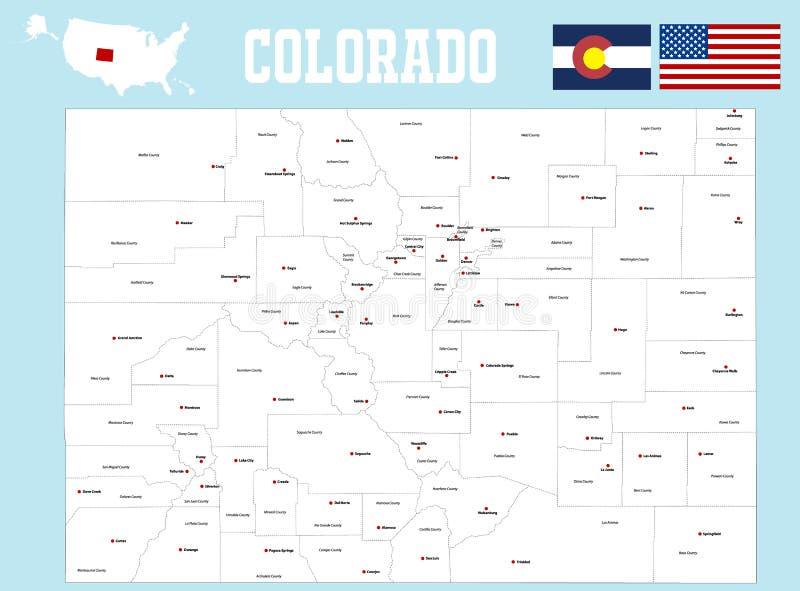 Mappa della contea di Colorado illustrazione di stock
