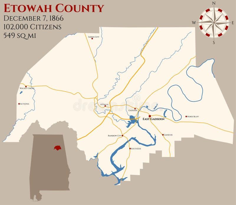Mappa della contea di Etowah nell'Alabama illustrazione vettoriale