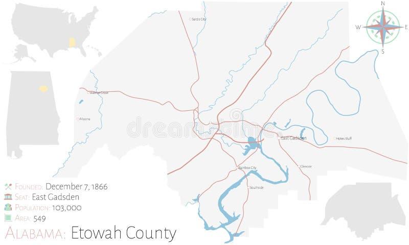 Mappa della contea di Etowah nell'Alabama illustrazione di stock