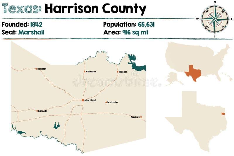 Mappa della contea di Harrison nel Texas illustrazione vettoriale
