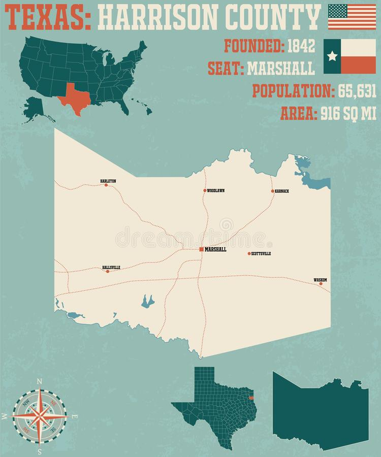 Mappa della contea di Harrison nel Texas illustrazione di stock