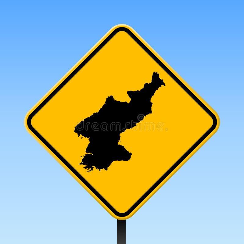 Mappa della Corea del Nord sul segnale stradale illustrazione vettoriale