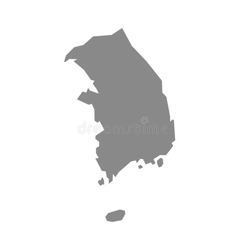 Mappa della Corea del Sud in grigio su un fondo bianco Illustrazione di vettore illustrazione vettoriale