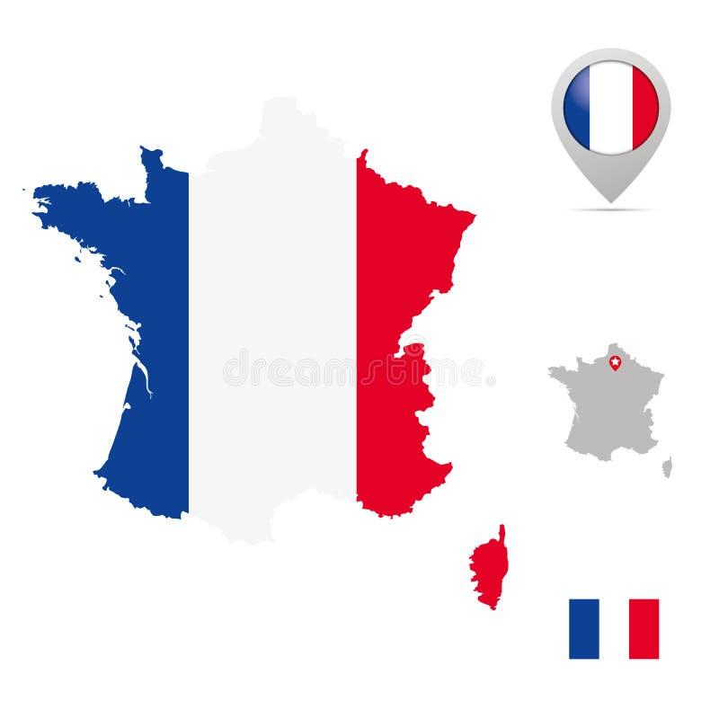 Mappa della Francia nei colori nazionali, in bandiera ed in indicatore illustrazione di stock