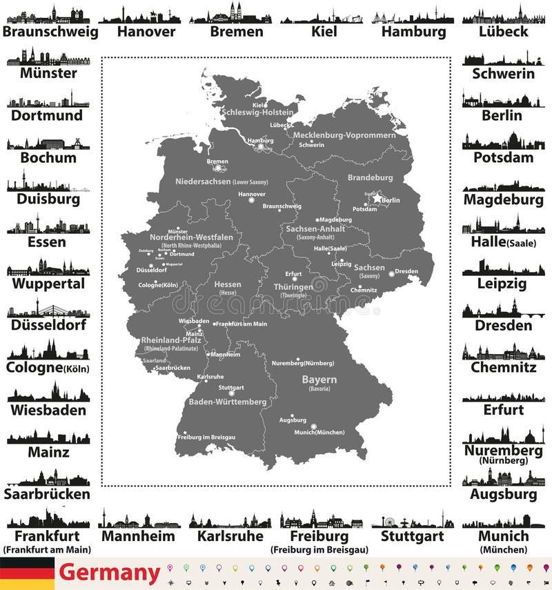 Mappa della Germania con i capitali dello Stato e le siluette degli orizzonti delle più grandi città illustrazione di stock