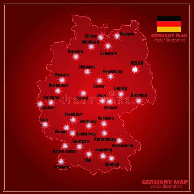 Mappa della Germania con le città Vettore illustrazione di stock