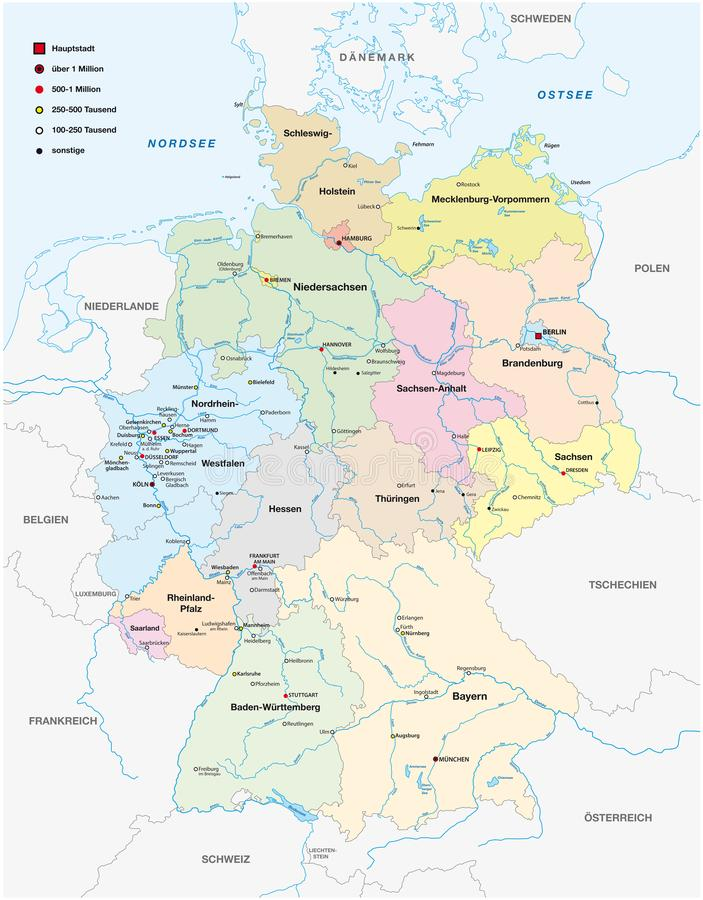 Mappa della Germania con tutte le città oltre cento mila abitanti nella lingua tedesca royalty illustrazione gratis