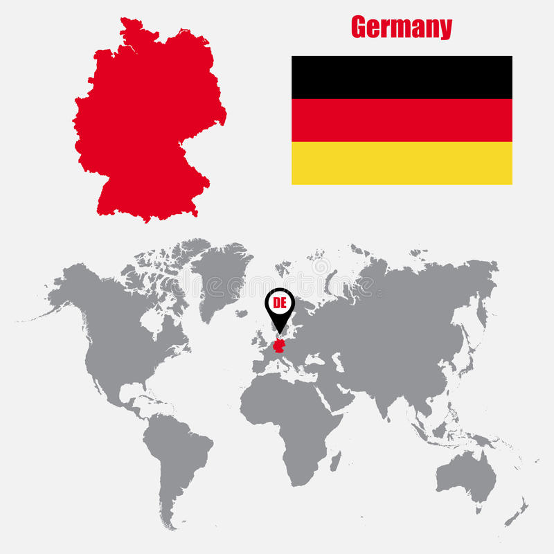Mappa della Germania su una mappa di mondo con il puntatore della mappa e della bandiera Illustrazione di vettore illustrazione di stock