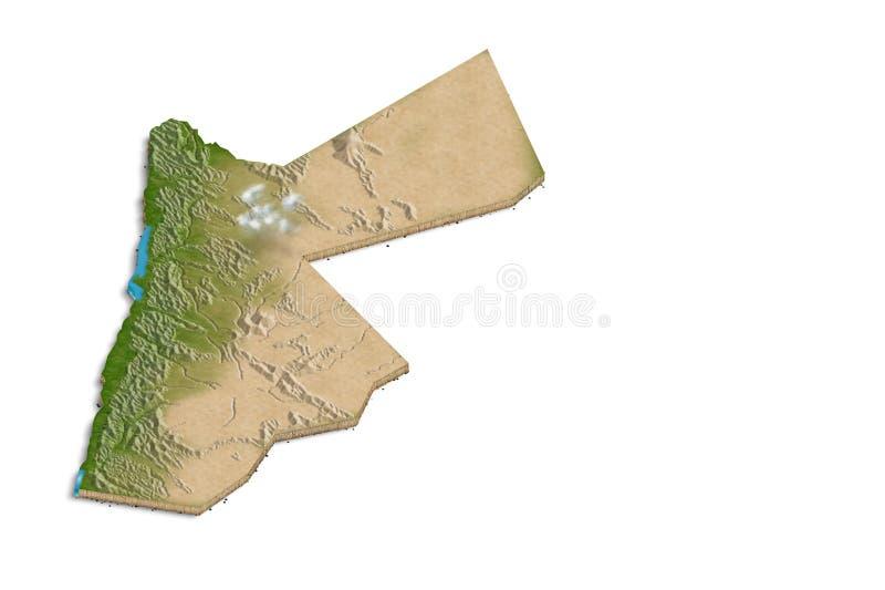 Mappa della Giordania 3D fotografie stock libere da diritti