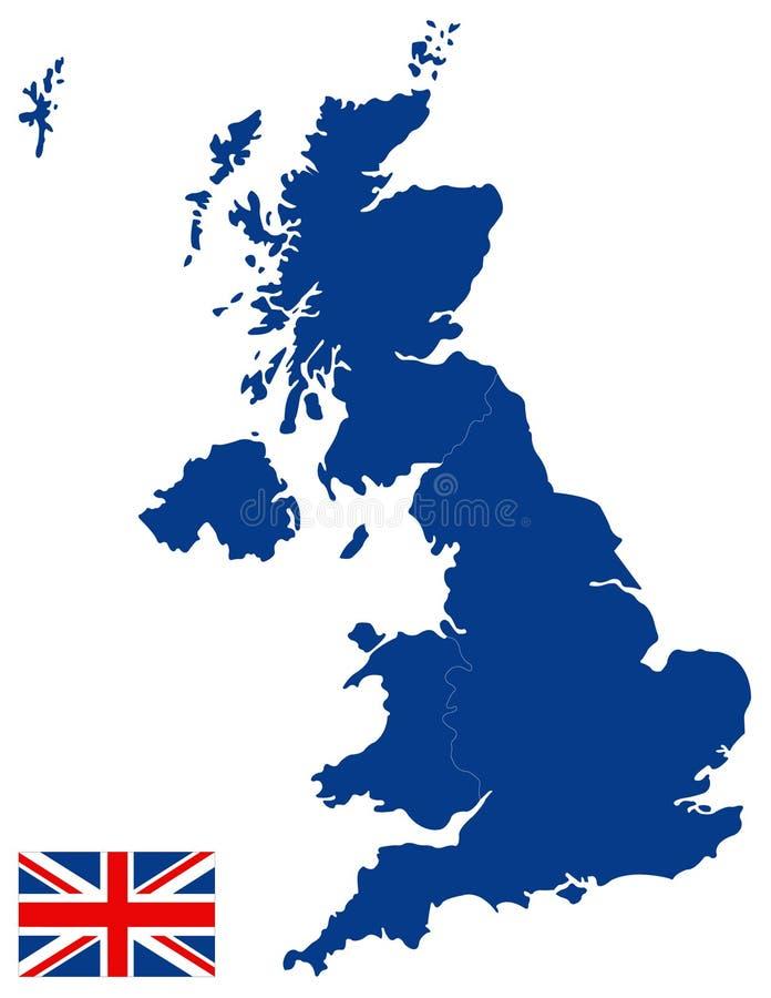 Mappa della Gran Bretagna e bandiera - grande isola nell'Oceano Atlantico del nord della costa di nord-ovest di Europa continenta illustrazione vettoriale