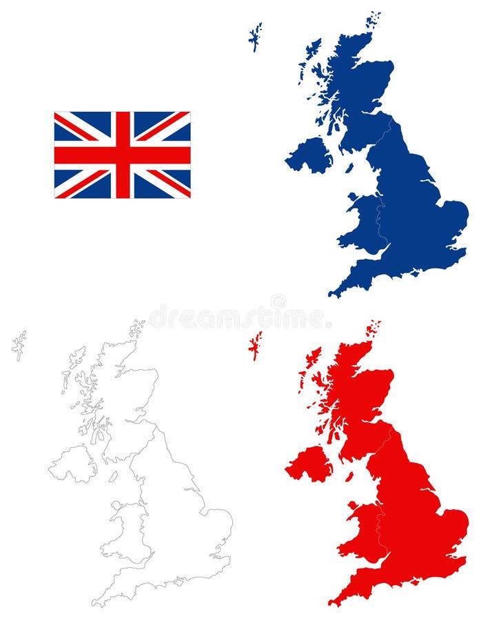 Mappa della Gran Bretagna e bandiera - grande isola nell'Oceano Atlantico del nord della costa di nord-ovest di Europa continenta royalty illustrazione gratis