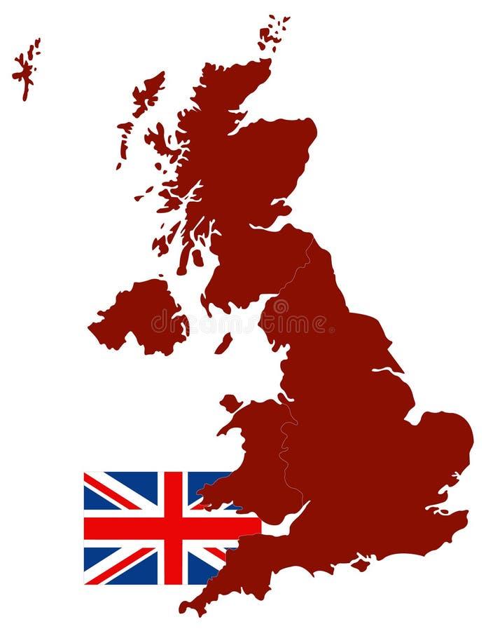 Mappa della Gran Bretagna e bandiera - grande isola nell'Oceano Atlantico del nord della costa di nord-ovest di Europa continenta illustrazione di stock