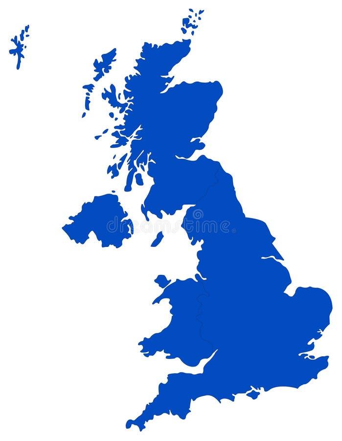 Mappa della Gran Bretagna - grande isola nell'Oceano Atlantico del nord della costa di nord-ovest di Europa continentale illustrazione vettoriale