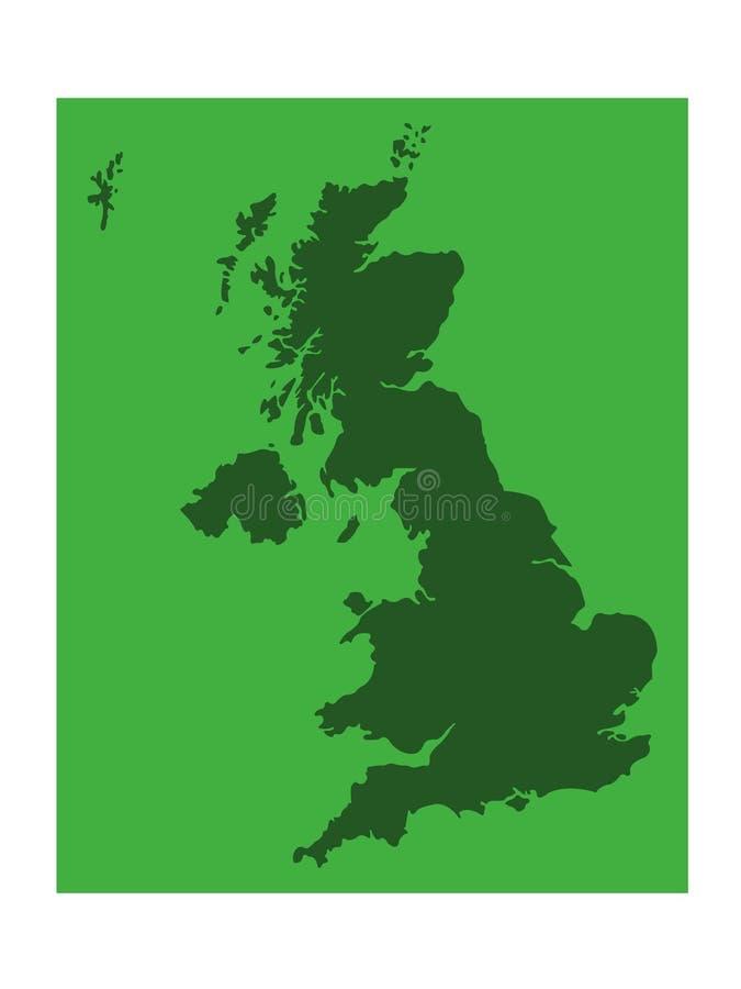 Mappa della Gran Bretagna - grande isola nell'Oceano Atlantico del nord della costa di nord-ovest di Europa continentale illustrazione di stock