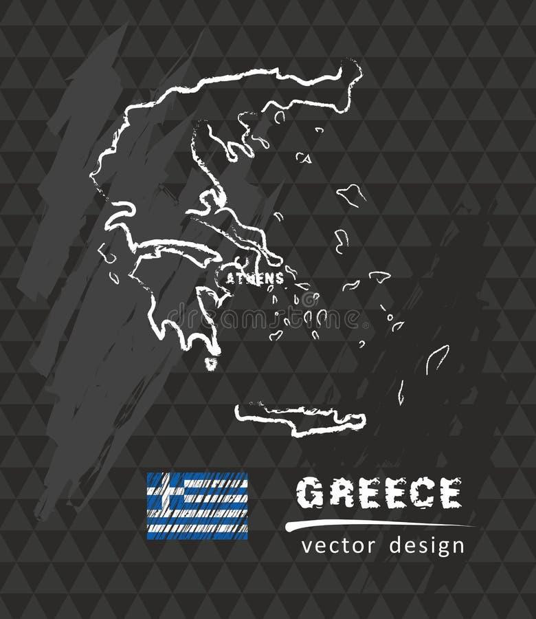 Mappa della Grecia, vettore che attinge lavagna illustrazione di stock