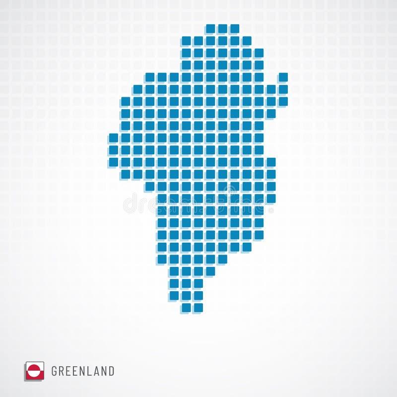 Mappa della Groenlandia ed icona della bandiera royalty illustrazione gratis