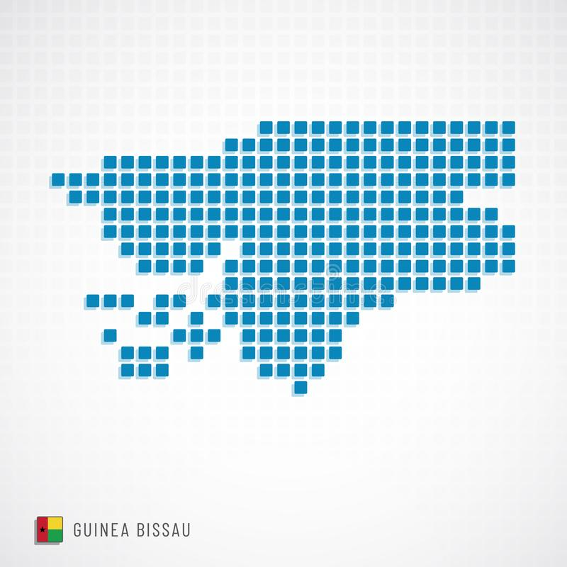 Mappa della Guinea-Bissau ed icona della bandiera illustrazione di stock