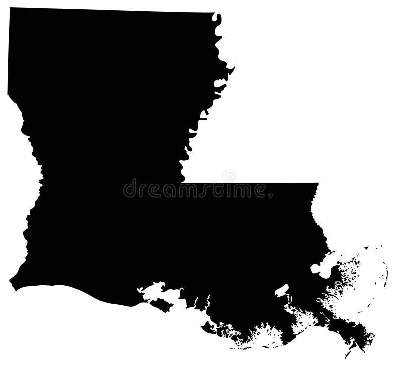 Mappa della Luisiana, U.S.A., paese, siluetta illustrazione di stock
