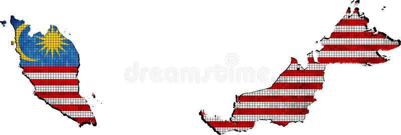 Mappa della Malesia con la bandiera dentro illustrazione vettoriale