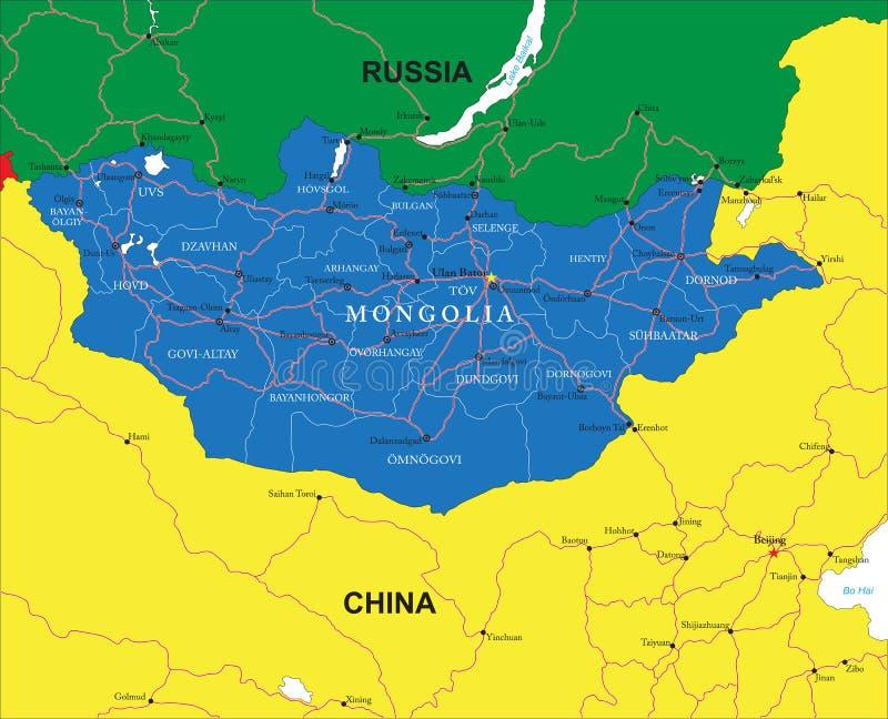 Mappa della Mongolia royalty illustrazione gratis