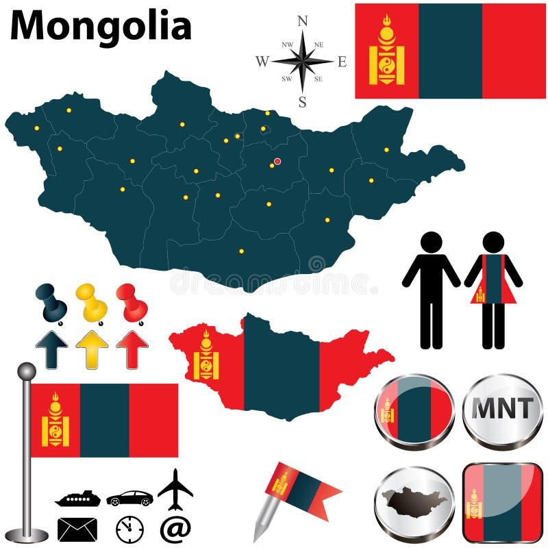 Mappa della Mongolia fotografia stock
