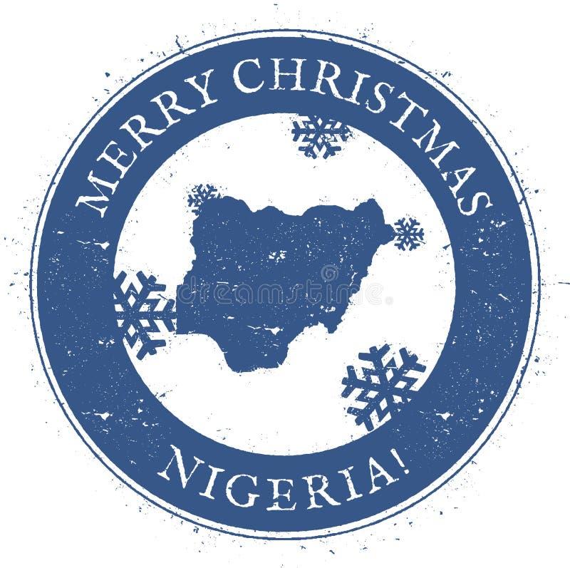 Mappa della Nigeria Buon Natale d'annata Nigeria royalty illustrazione gratis