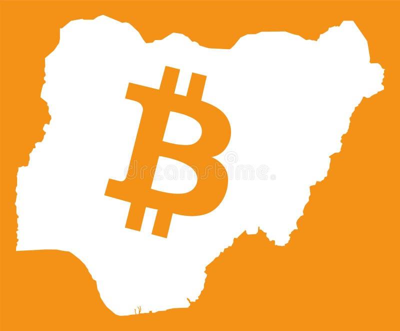 Mappa della Nigeria con l'illustrazione cripto di simbolo di valuta del bitcoin illustrazione di stock