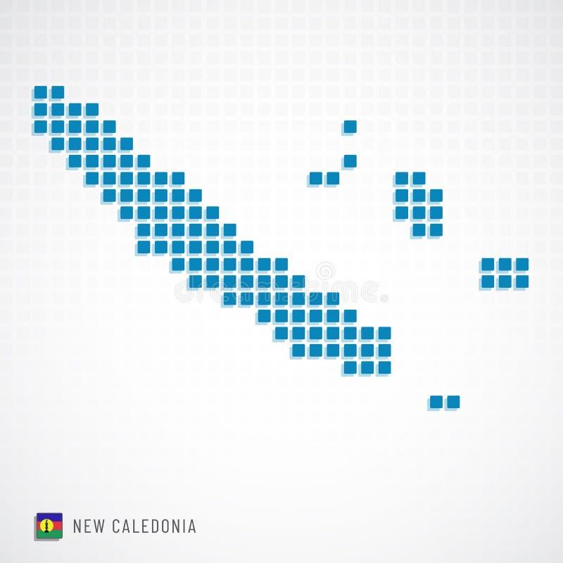 Mappa della Nuova Caledonia ed icona della bandiera illustrazione di stock