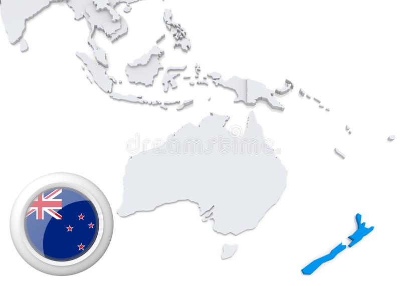 Mappa della Nuova Zelanda con la bandiera nazionale illustrazione di stock