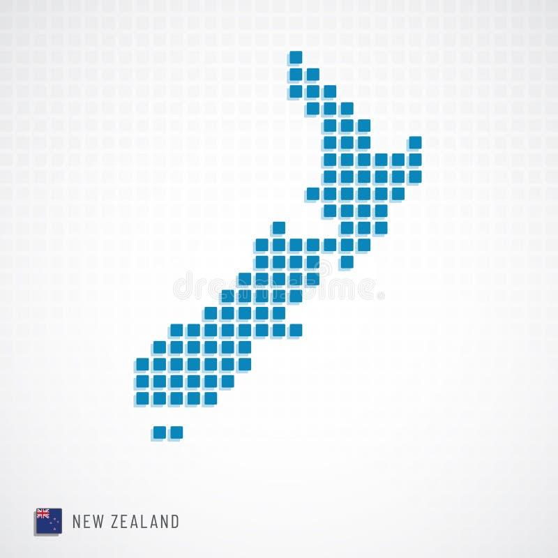 Mappa della Nuova Zelanda ed icona della bandiera illustrazione di stock